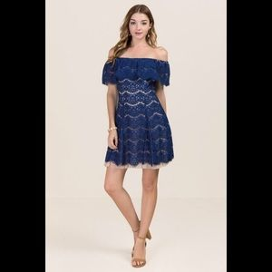 Francesca's Lace Overlay Shift Off Shoulder Dress